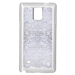 Damask2 White Marble & Silver Brushed Metal (r) Samsung Galaxy Note 4 Case (white) by trendistuff
