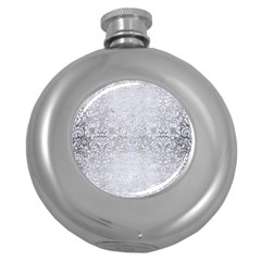 Damask2 White Marble & Silver Brushed Metal Round Hip Flask (5 Oz) by trendistuff