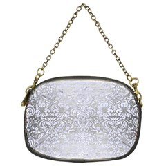 Damask2 White Marble & Silver Brushed Metal Chain Purses (two Sides)  by trendistuff