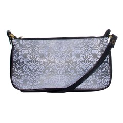 Damask2 White Marble & Silver Brushed Metal Shoulder Clutch Bags by trendistuff