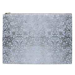 Damask2 White Marble & Silver Brushed Metal Cosmetic Bag (xxl)  by trendistuff