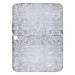 Damask2 White Marble & Silver Brushed Metal Samsung Galaxy Tab 3 (10 1 ) P5200 Hardshell Case  by trendistuff