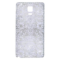 Damask2 White Marble & Silver Brushed Metal Galaxy Note 4 Back Case by trendistuff