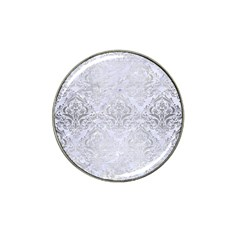 Damask1 White Marble & Silver Brushed Metal (r) Hat Clip Ball Marker by trendistuff