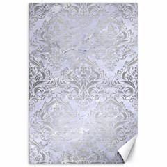 Damask1 White Marble & Silver Brushed Metal (r) Canvas 20  X 30   by trendistuff