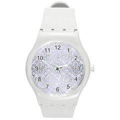Damask1 White Marble & Silver Brushed Metal (r) Round Plastic Sport Watch (m) by trendistuff