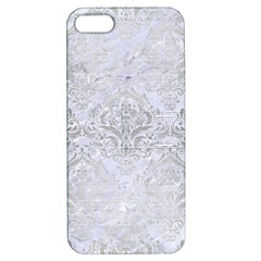 Damask1 White Marble & Silver Brushed Metal (r) Apple Iphone 5 Hardshell Case With Stand by trendistuff