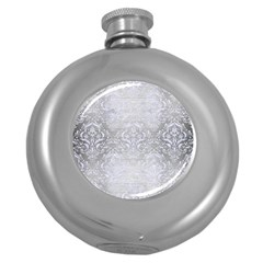 Damask1 White Marble & Silver Brushed Metal Round Hip Flask (5 Oz) by trendistuff