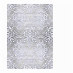Damask1 White Marble & Silver Brushed Metal Small Garden Flag (two Sides) by trendistuff