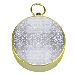Damask1 White Marble & Silver Brushed Metal Gold Compasses by trendistuff