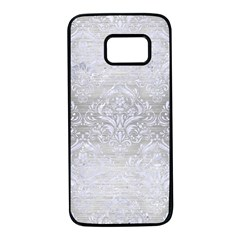 Damask1 White Marble & Silver Brushed Metal Samsung Galaxy S7 Black Seamless Case by trendistuff