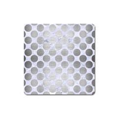 Circles2 White Marble & Silver Brushed Metal (r) Square Magnet