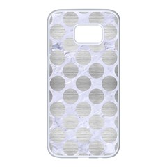 Circles2 White Marble & Silver Brushed Metal (r) Samsung Galaxy S7 Edge White Seamless Case