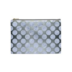 Circles2 White Marble & Silver Brushed Metal Cosmetic Bag (medium)  by trendistuff