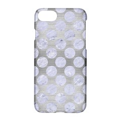 Circles2 White Marble & Silver Brushed Metal Apple Iphone 8 Hardshell Case