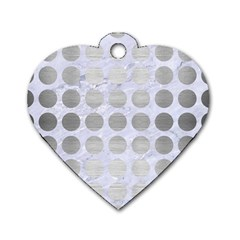 Circles1 White Marble & Silver Brushed Metal (r) Dog Tag Heart (two Sides)