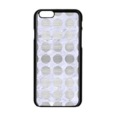 Circles1 White Marble & Silver Brushed Metal (r) Apple Iphone 6/6s Black Enamel Case by trendistuff