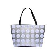 Circles1 White Marble & Silver Brushed Metal Shoulder Handbags by trendistuff