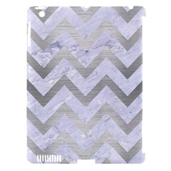 Chevron9 White Marble & Silver Brushed Metal (r) Apple Ipad 3/4 Hardshell Case (compatible With Smart Cover) by trendistuff
