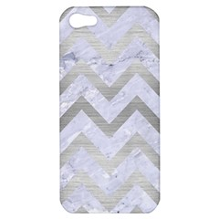 Chevron9 White Marble & Silver Brushed Metal (r) Apple Iphone 5 Hardshell Case by trendistuff