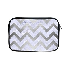 Chevron9 White Marble & Silver Brushed Metal (r) Apple Ipad Mini Zipper Cases by trendistuff