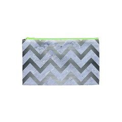 Chevron9 White Marble & Silver Brushed Metal (r) Cosmetic Bag (xs) by trendistuff
