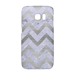 Chevron9 White Marble & Silver Brushed Metal (r) Galaxy S6 Edge