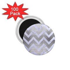 Chevron9 White Marble & Silver Brushed Metal 1 75  Magnets (100 Pack)  by trendistuff