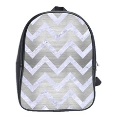 Chevron9 White Marble & Silver Brushed Metal School Bag (large) by trendistuff