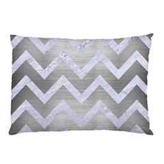 Chevron9 White Marble & Silver Brushed Metal Pillow Case (two Sides) by trendistuff