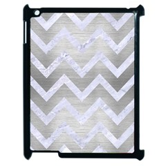 Chevron9 White Marble & Silver Brushed Metal Apple Ipad 2 Case (black) by trendistuff