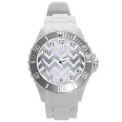 Chevron9 White Marble & Silver Brushed Metal Round Plastic Sport Watch (l) by trendistuff
