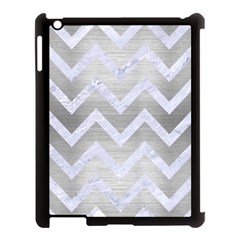 Chevron9 White Marble & Silver Brushed Metal Apple Ipad 3/4 Case (black) by trendistuff