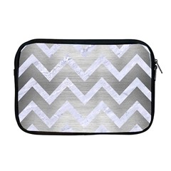 Chevron9 White Marble & Silver Brushed Metal Apple Macbook Pro 17  Zipper Case by trendistuff