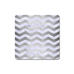Chevron3 White Marble & Silver Brushed Metal Square Magnet by trendistuff
