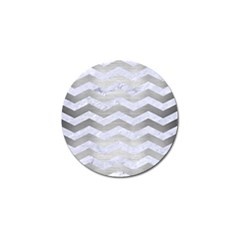 Chevron3 White Marble & Silver Brushed Metal Golf Ball Marker by trendistuff