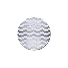 Chevron3 White Marble & Silver Brushed Metal Golf Ball Marker (10 Pack) by trendistuff