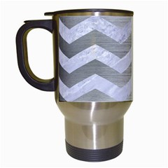 Chevron3 White Marble & Silver Brushed Metal Travel Mugs (white) by trendistuff