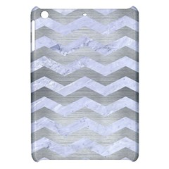 Chevron3 White Marble & Silver Brushed Metal Apple Ipad Mini Hardshell Case by trendistuff