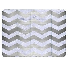 Chevron3 White Marble & Silver Brushed Metal Samsung Galaxy Tab 7  P1000 Flip Case by trendistuff