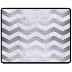 Chevron3 White Marble & Silver Brushed Metal Double Sided Fleece Blanket (medium)  by trendistuff