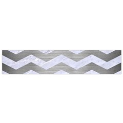 Chevron3 White Marble & Silver Brushed Metal Small Flano Scarf by trendistuff