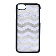 Chevron3 White Marble & Silver Brushed Metal Apple Iphone 8 Seamless Case (black) by trendistuff