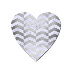 Chevron2 White Marble & Silver Brushed Metal Heart Magnet by trendistuff