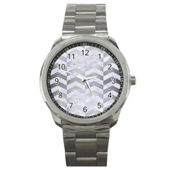 Chevron2 White Marble & Silver Brushed Metal Sport Metal Watch by trendistuff