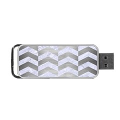 Chevron2 White Marble & Silver Brushed Metal Portable Usb Flash (one Side)