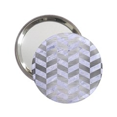 Chevron1 White Marble & Silver Brushed Metal 2 25  Handbag Mirrors by trendistuff