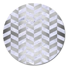 Chevron1 White Marble & Silver Brushed Metal Magnet 5  (round) by trendistuff