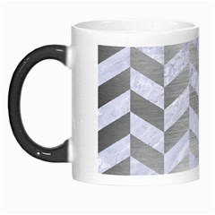 Chevron1 White Marble & Silver Brushed Metal Morph Mugs