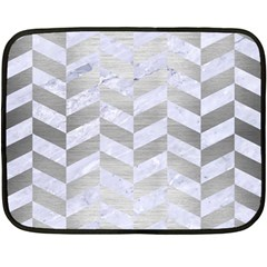 Chevron1 White Marble & Silver Brushed Metal Double Sided Fleece Blanket (mini)  by trendistuff